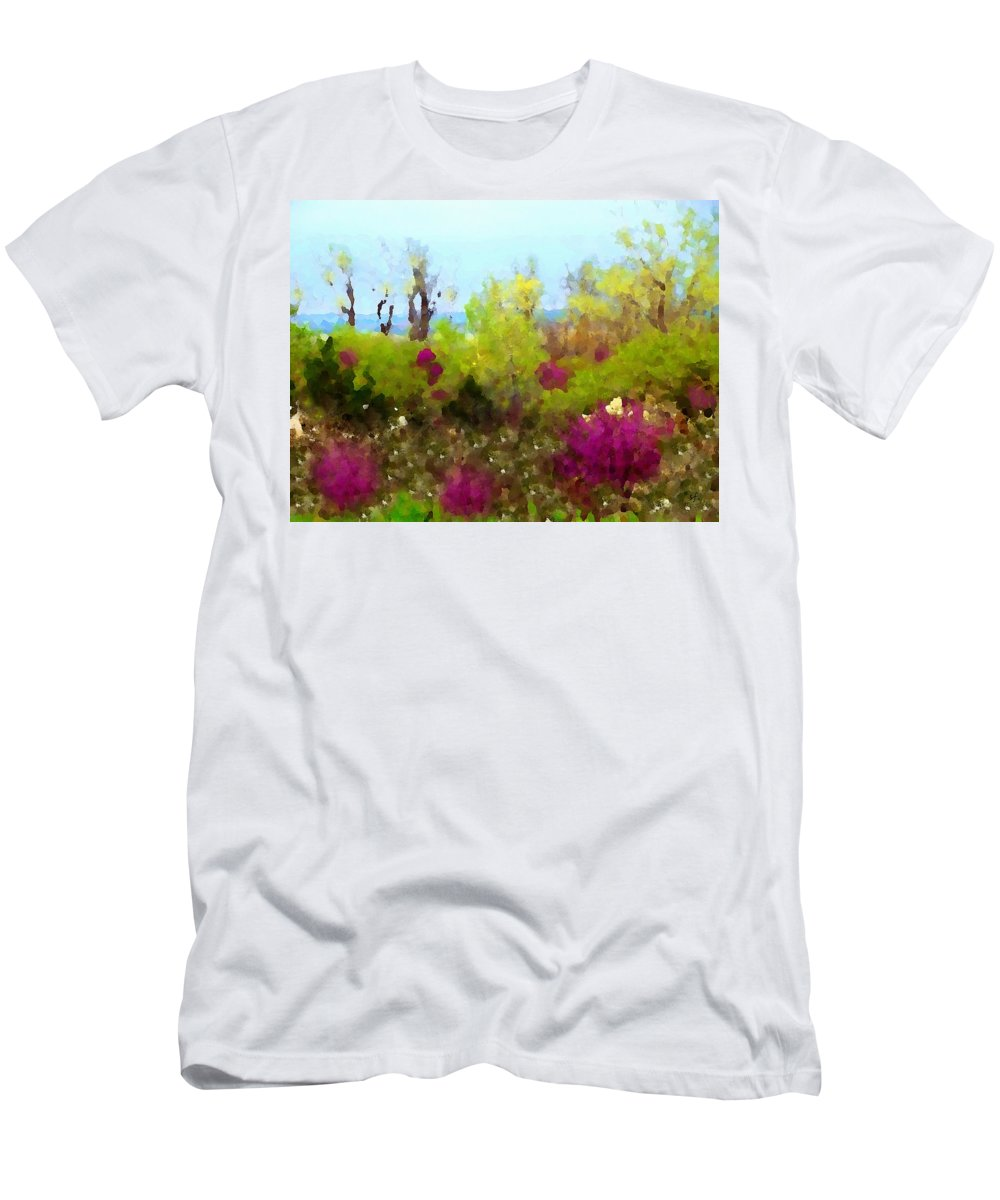 Impressionist Men's T-Shirt (Athletic Fit) featuring the digital art Oklahoma Spring Colors by Shelli Fitzpatrick