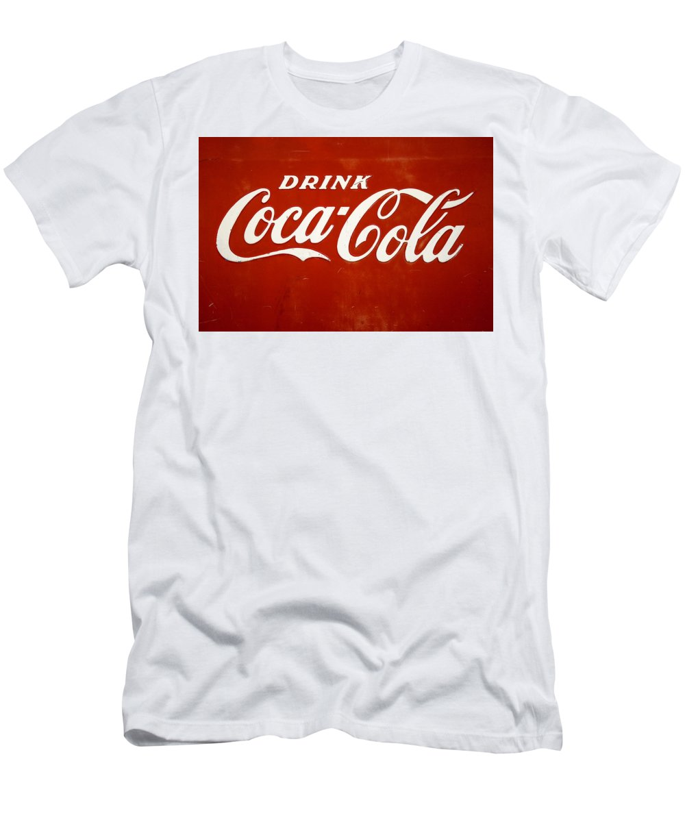 Red T-Shirt featuring the photograph Old Drink Coca-cola Sign by Marilyn Hunt