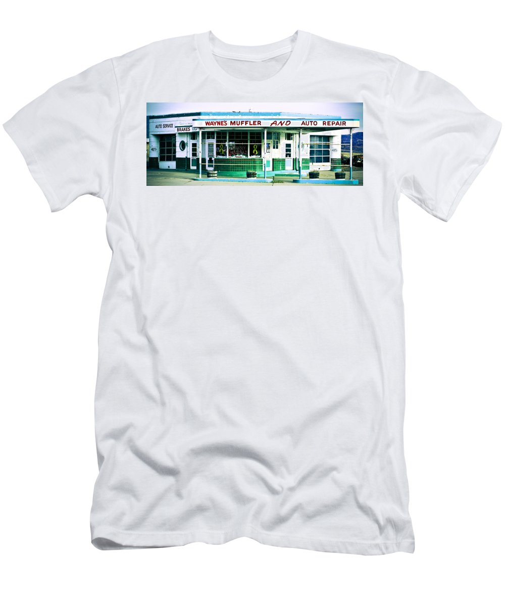 Americana Men's T-Shirt (Athletic Fit) featuring the photograph Old Gas Station Green Tile by Marilyn Hunt