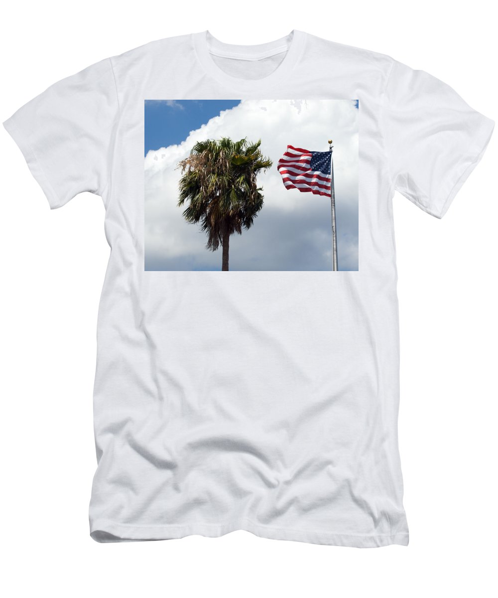Florida; Titusville; Space; Coast; Astronauts; Astronaut; Cape; Canaveral; Mercury; Project; Freedom Men's T-Shirt (Athletic Fit) featuring the photograph Old Glory Monument At Titusville Florida by Allan Hughes