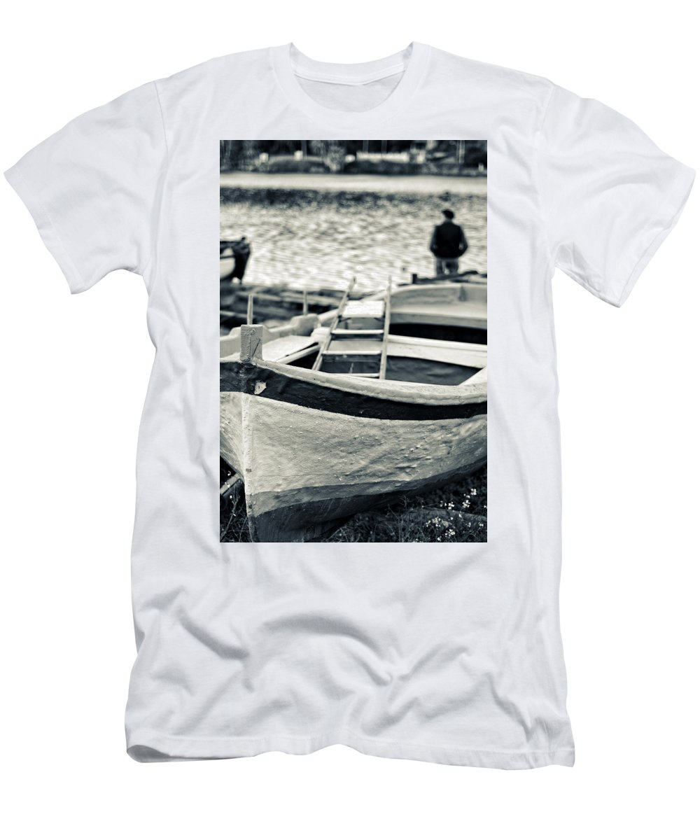 Boat Men's T-Shirt (Athletic Fit) featuring the photograph Old Man And Boat by Silvia Ganora