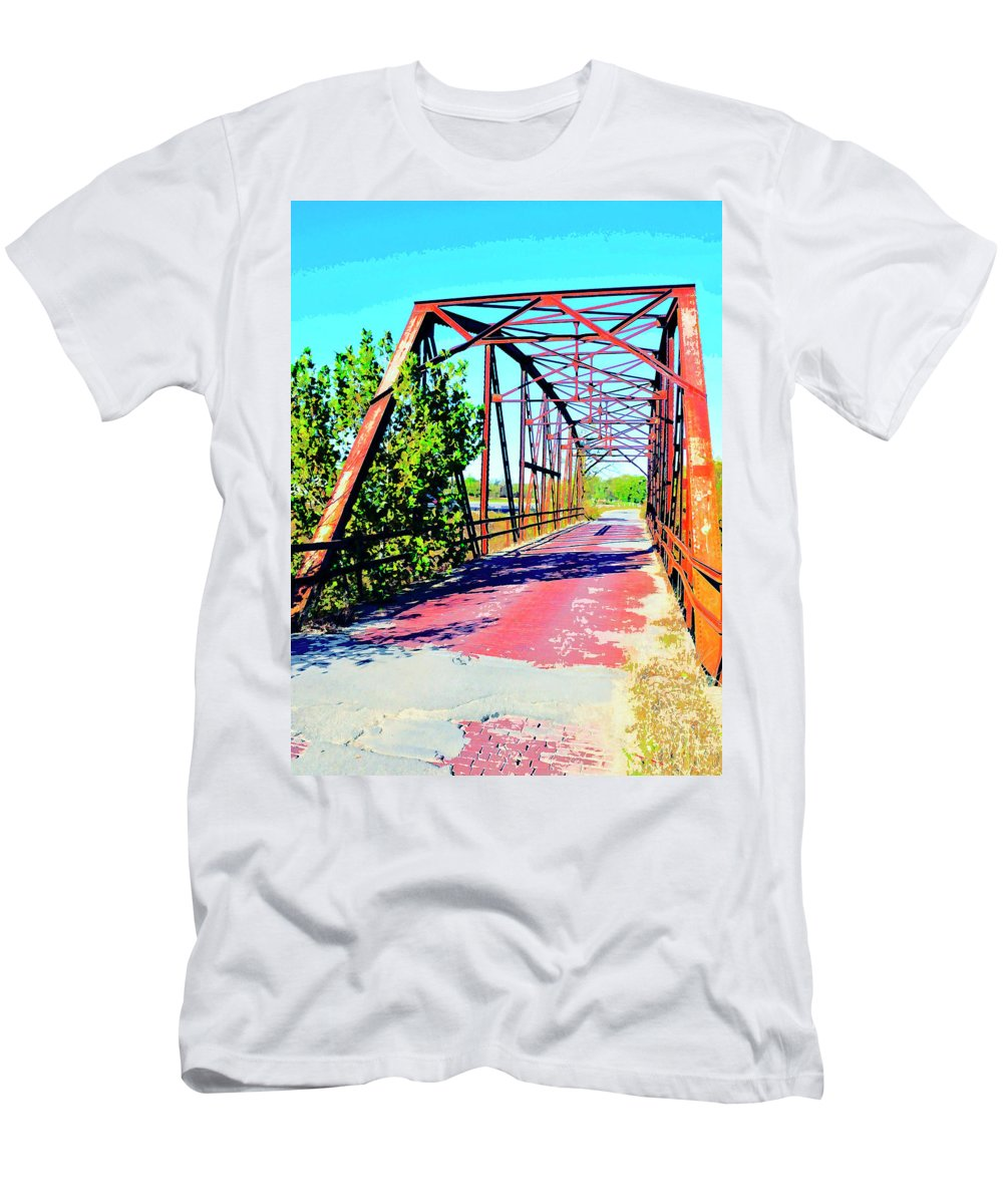 Old Ozark Trail Bridge Men's T-Shirt (Athletic Fit) featuring the mixed media Old Ozark Trail Bridge by Dominic Piperata