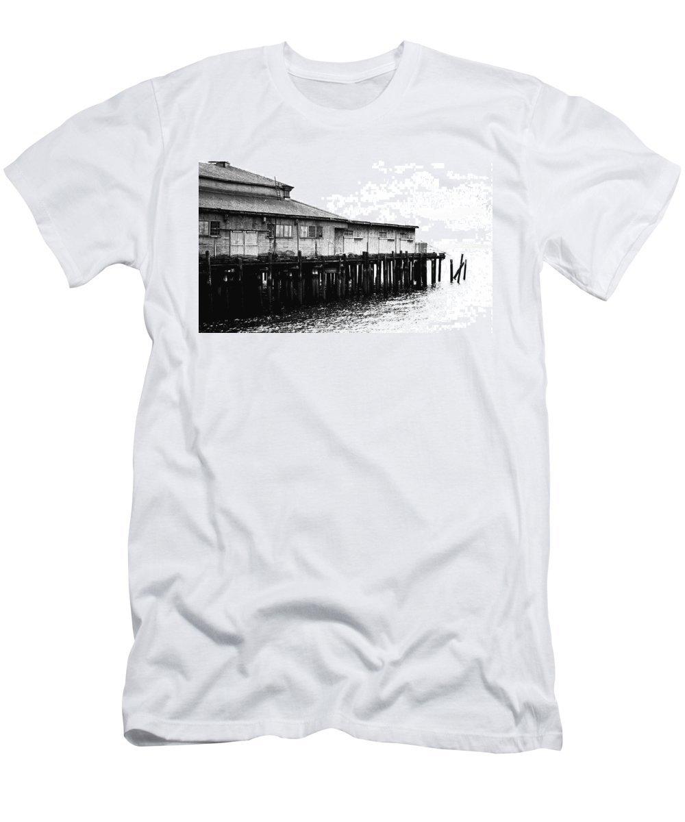 History Men's T-Shirt (Athletic Fit) featuring the photograph Old Pier by Karen Ulvestad