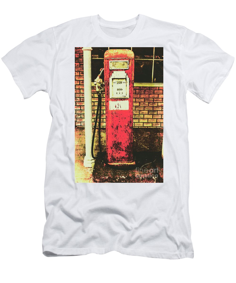 Petrol Men's T-Shirt (Athletic Fit) featuring the photograph Old Roadhouse Gas Station by Jorgo Photography - Wall Art Gallery