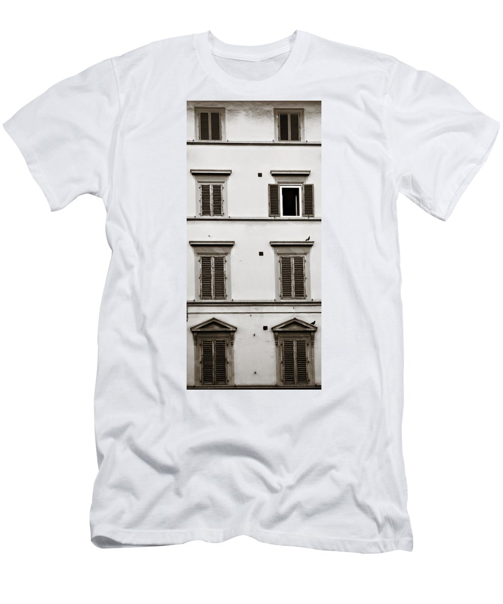 Shutters Men's T-Shirt (Athletic Fit) featuring the photograph Old Shutters by Marilyn Hunt