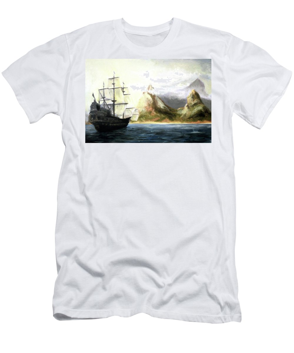Tall Ship Men's T-Shirt (Athletic Fit) featuring the painting Old Vessel by Giuseppe Costantino