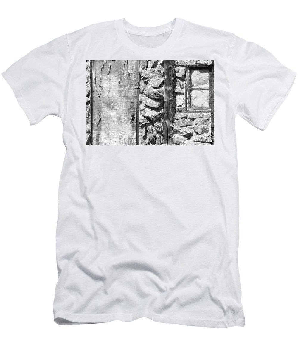 Peeling Men's T-Shirt (Athletic Fit) featuring the photograph Old Wood Door Window And Stone In Black And White by James BO Insogna