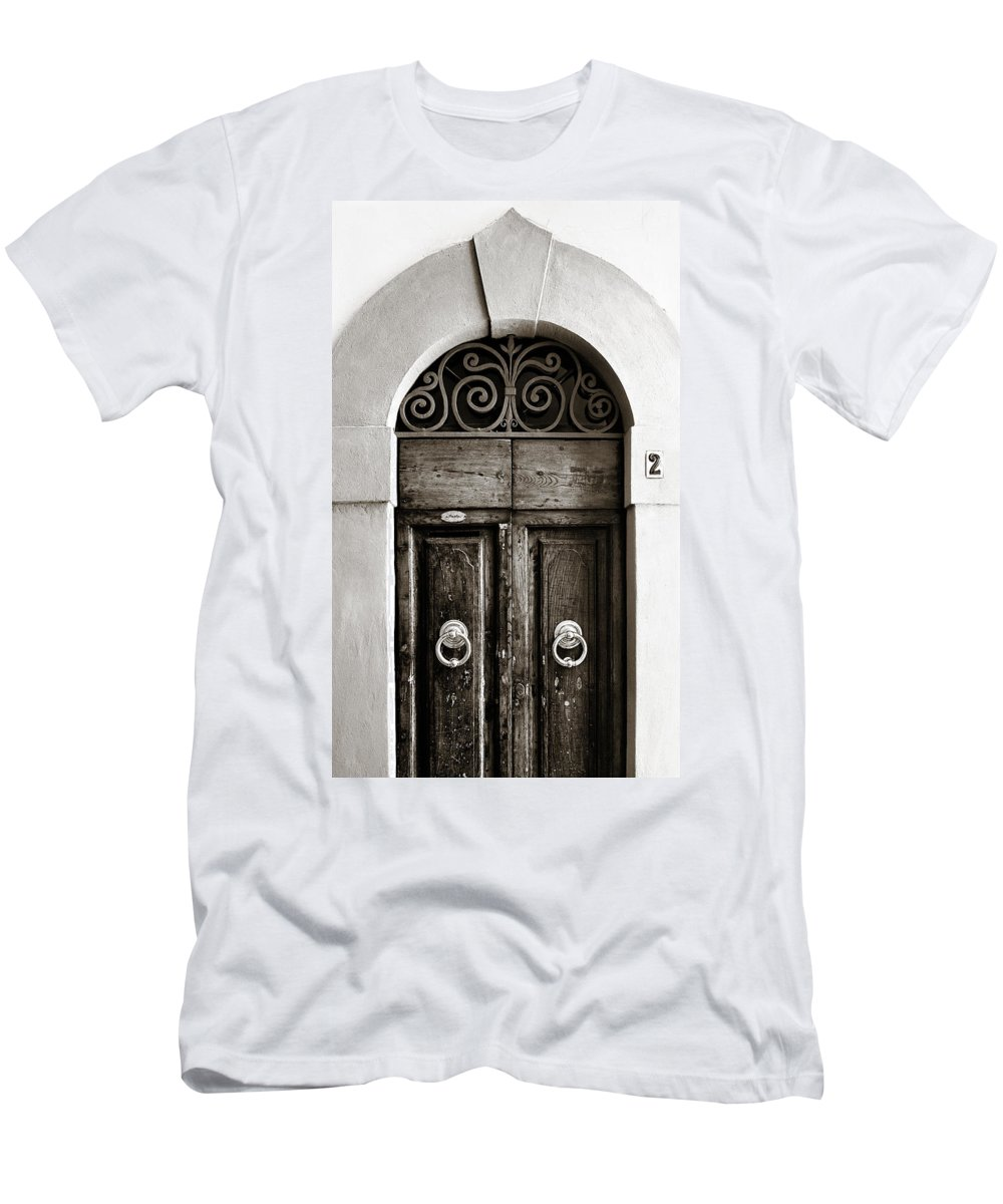 Door Men's T-Shirt (Athletic Fit) featuring the photograph Old World Door by Marilyn Hunt