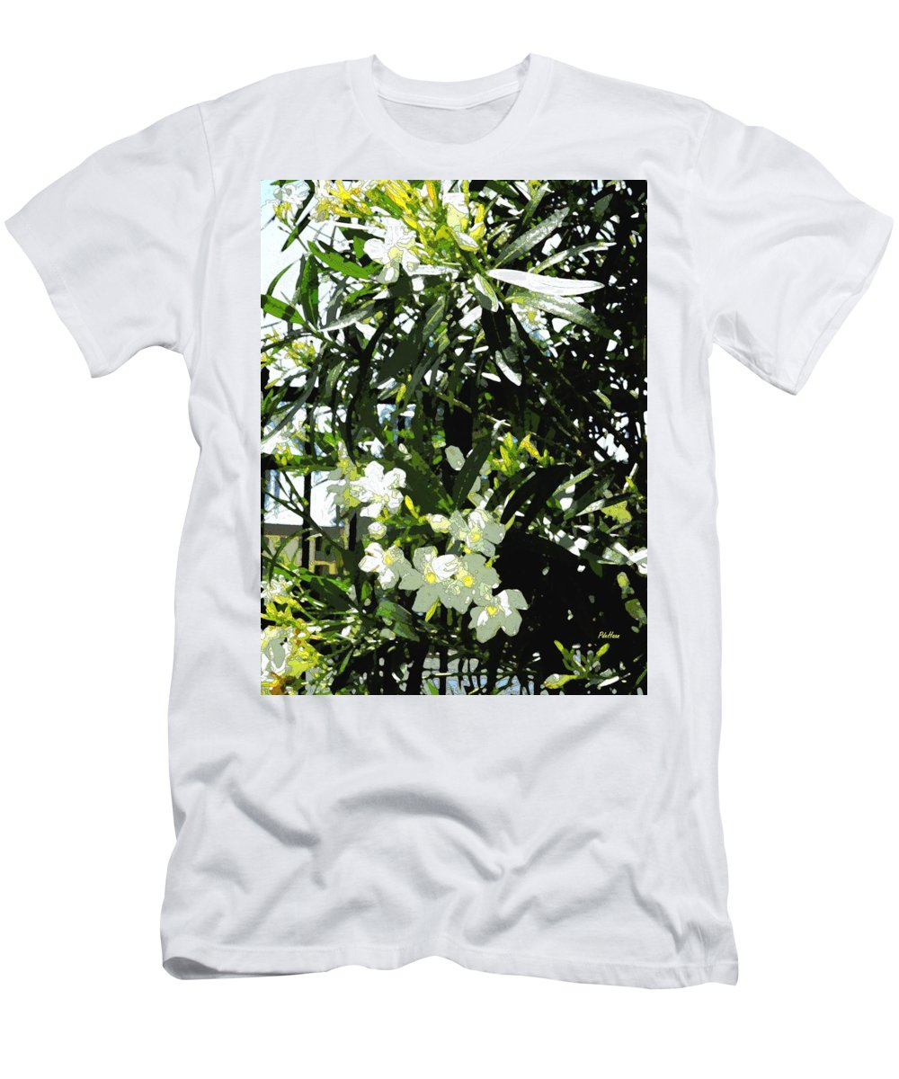 Oleander Men's T-Shirt (Athletic Fit) featuring the mixed media Oleander 2018 by Peggy De Haan