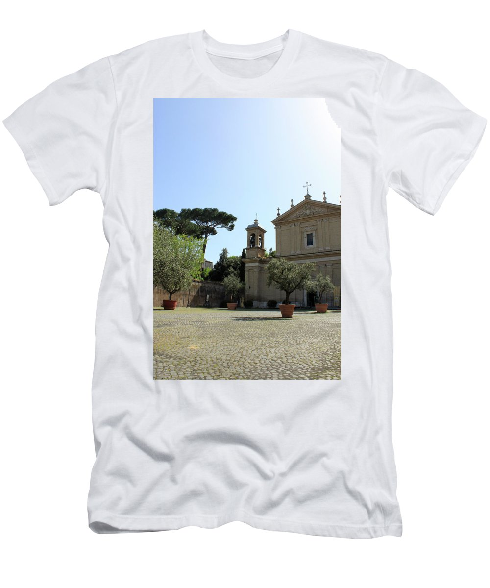 Church Men's T-Shirt (Athletic Fit) featuring the photograph Olive Wood Trees by Munir Alawi