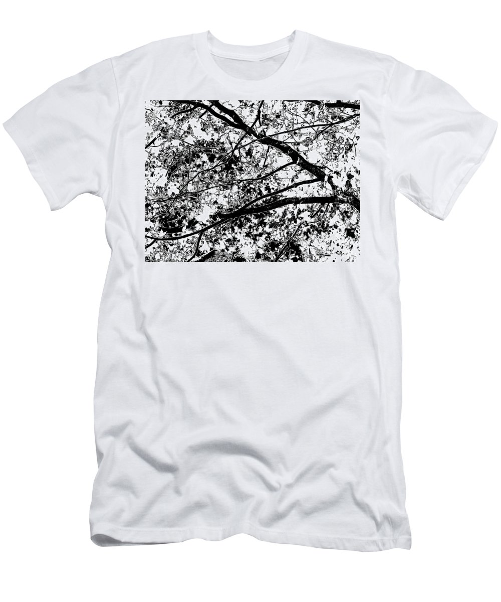 Black And White Men's T-Shirt (Athletic Fit) featuring the photograph On And Limb And A Prayer by Abstract Angel Artist Stephen K