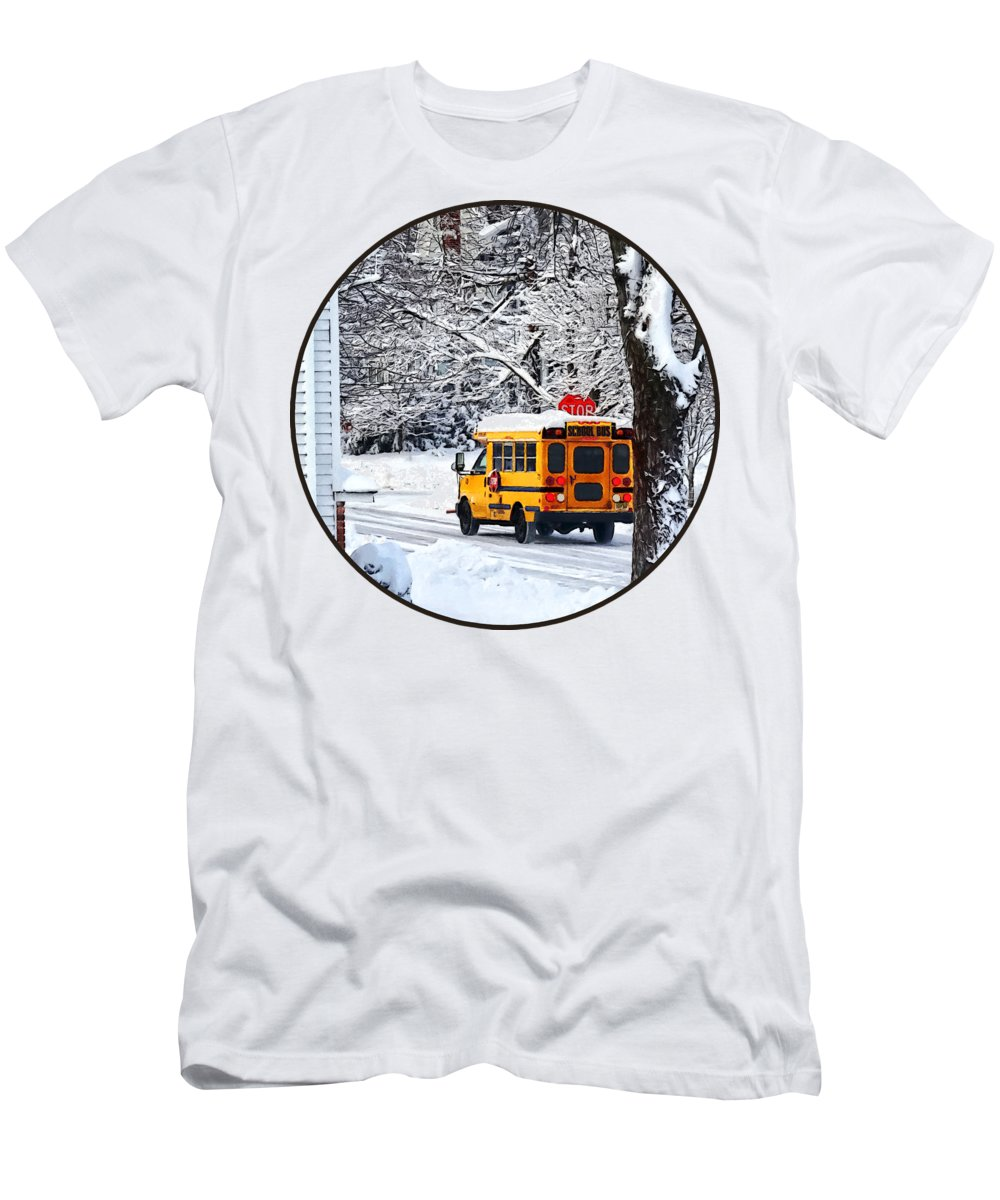 Bus Men's T-Shirt (Athletic Fit) featuring the photograph On The Way To School In Winter by Susan Savad