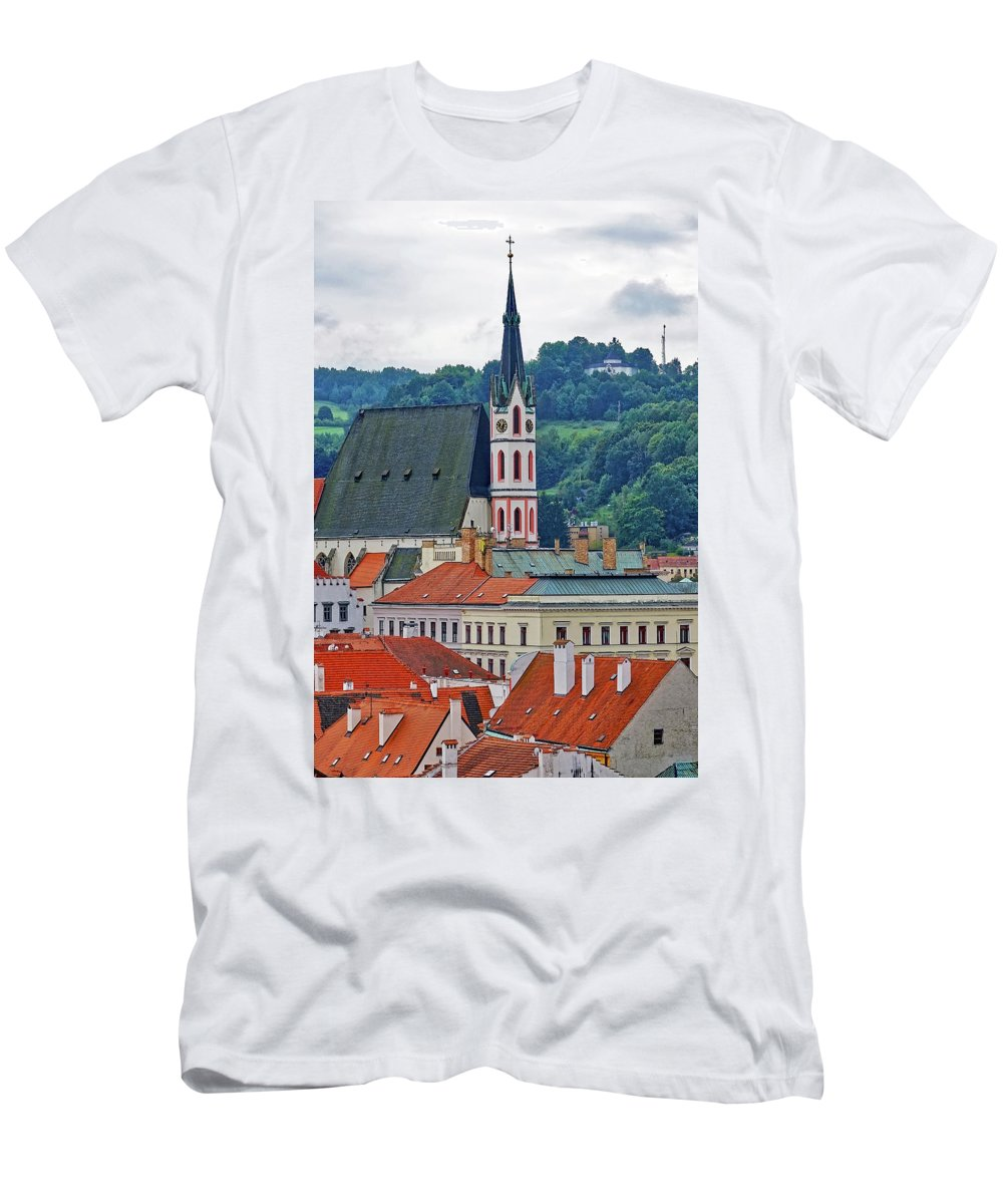 Cesky Krumlov Men's T-Shirt (Athletic Fit) featuring the photograph One Of The Churches In Cesky Kumlov In The Czech Republic by Richard Rosenshein