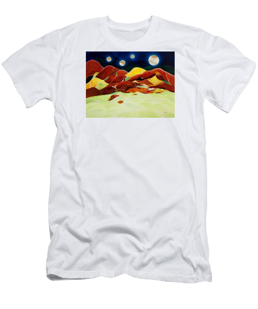 Oil Men's T-Shirt (Athletic Fit) featuring the painting One Step Up From Third by Peggy Guichu