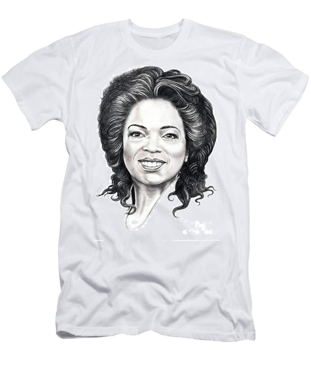Oprah Men's T-Shirt (Athletic Fit) featuring the drawing Oprah Winfrey by Murphy Elliott