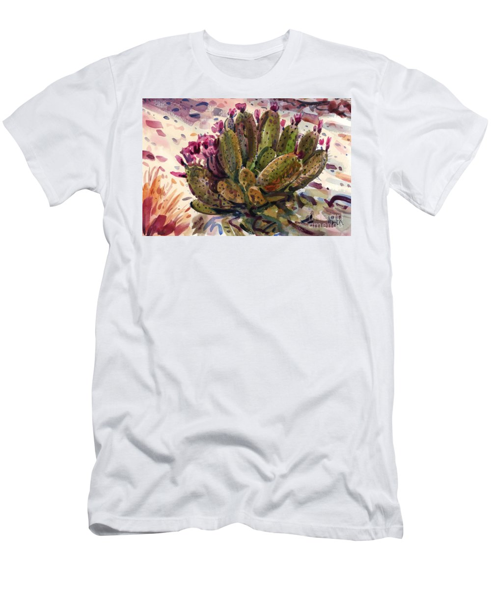 Opuntia Cactus Men's T-Shirt (Athletic Fit) featuring the painting Opuntia Cactus by Donald Maier