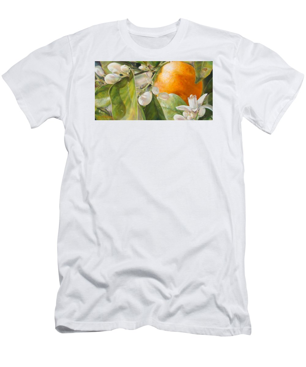 Floral Painting Men's T-Shirt (Athletic Fit) featuring the painting Orange Fleurie by Dolemieux