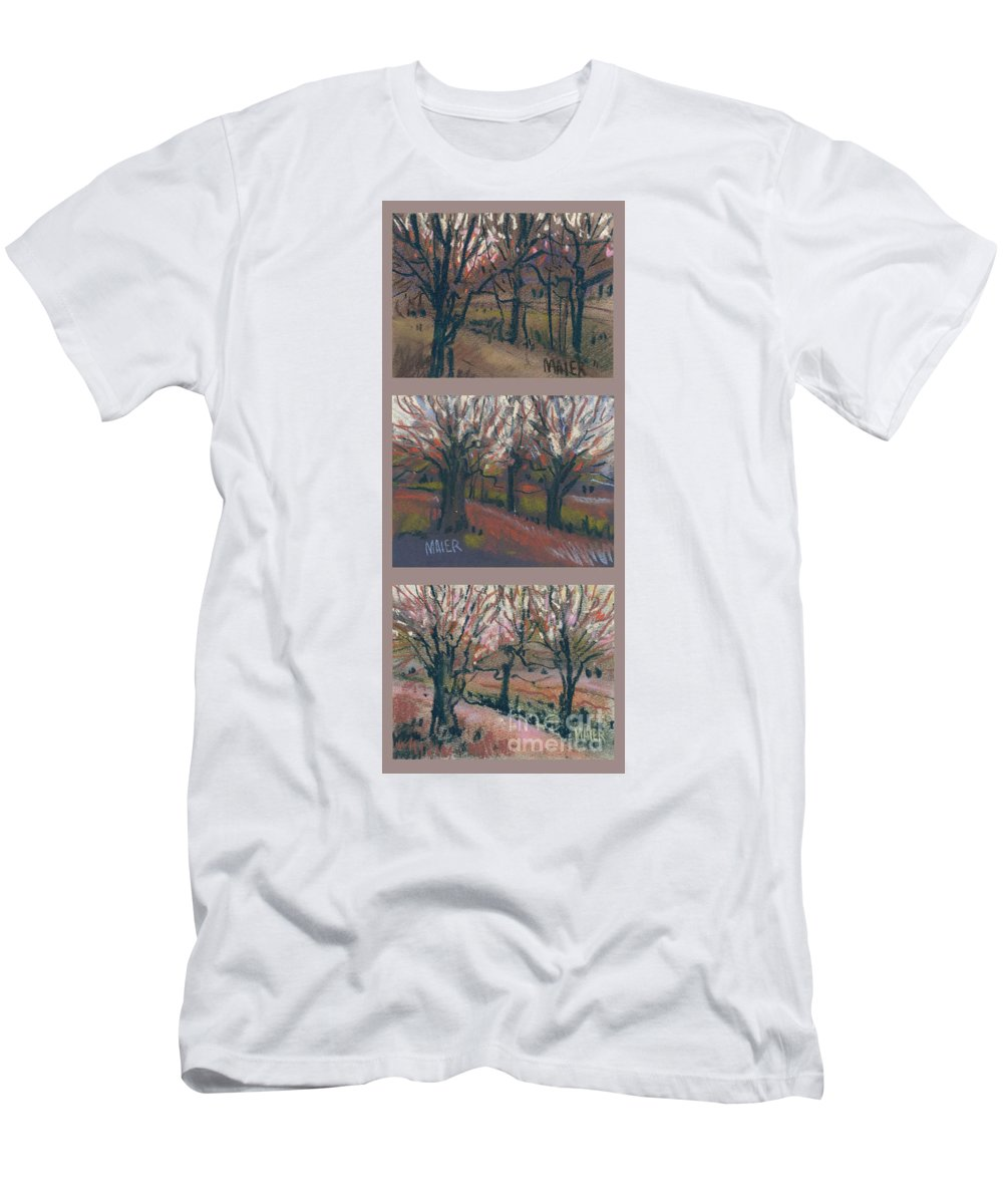 Pastel Men's T-Shirt (Athletic Fit) featuring the drawing Orchard Sunset by Donald Maier