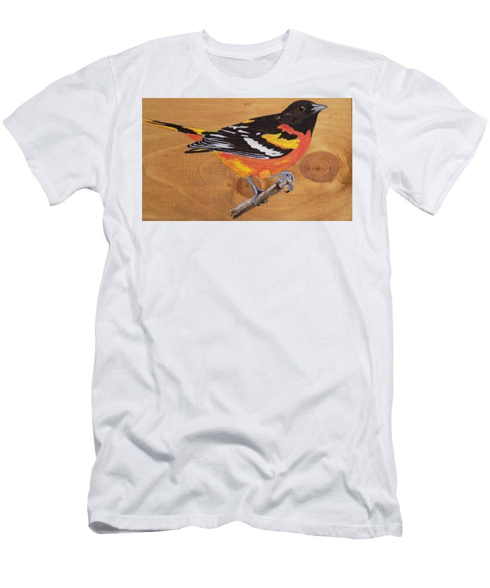 Baltimore Oriole Men's T-Shirt (Athletic Fit) featuring the painting Oriole 7 by Paul Bashore