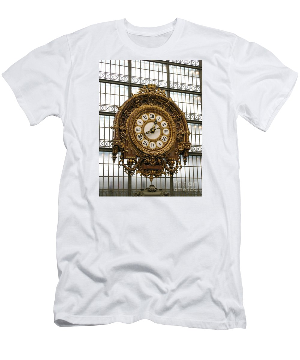 Clock Men's T-Shirt (Athletic Fit) featuring the photograph Ornate Orsay Clock by Ann Horn