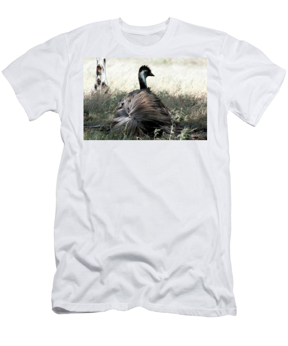 Ostrich Men's T-Shirt (Athletic Fit) featuring the photograph Ostracized Ostrich by Douglas Barnard