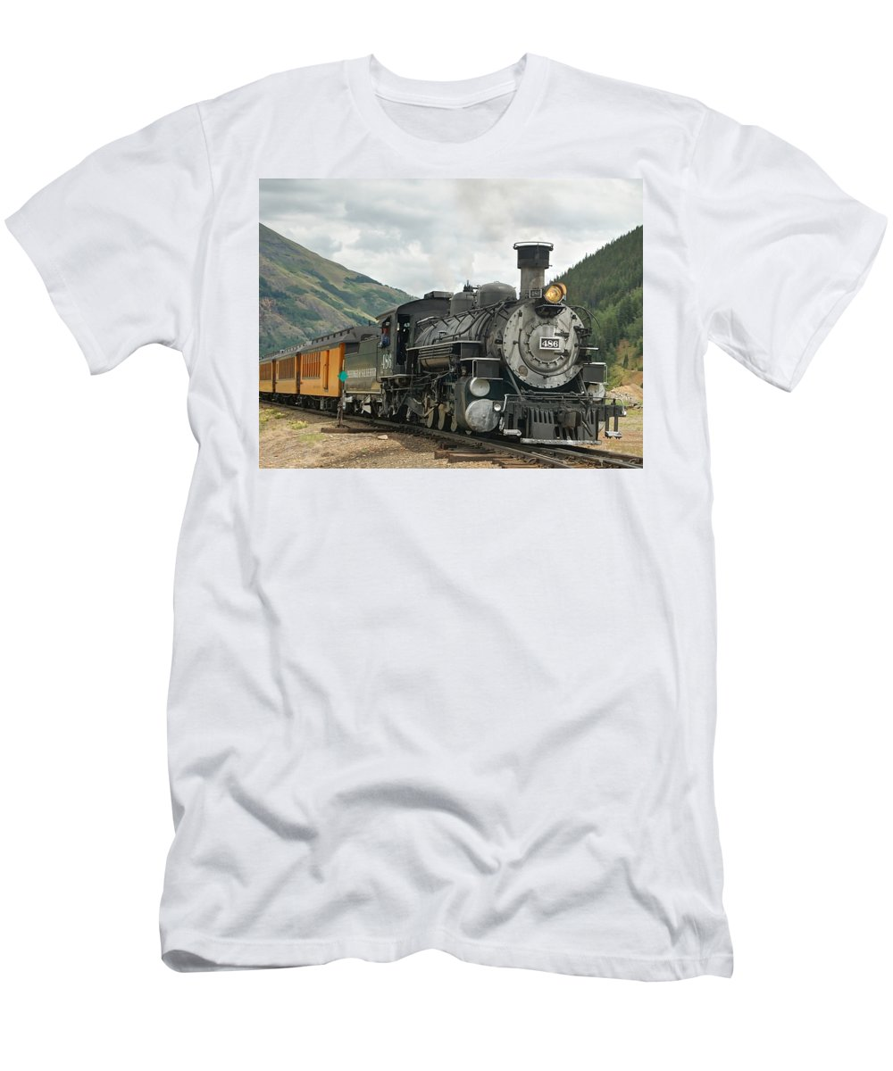 Steam Train Photographs Men's T-Shirt (Athletic Fit) featuring the photograph Out Of Here by Ken Smith