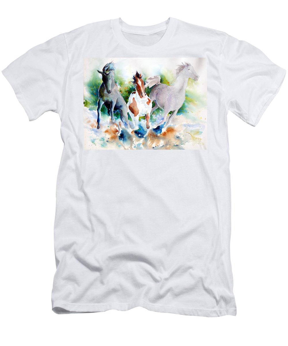 Horses Men's T-Shirt (Athletic Fit) featuring the painting Out Of Nowhere by Christie Michelsen