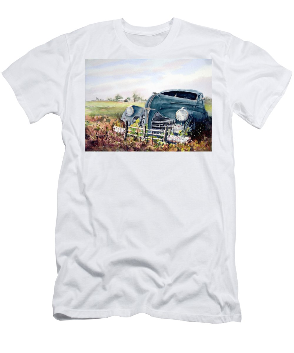 Classic Car Men's T-Shirt (Athletic Fit) featuring the painting Out To Pasture by Sam Sidders
