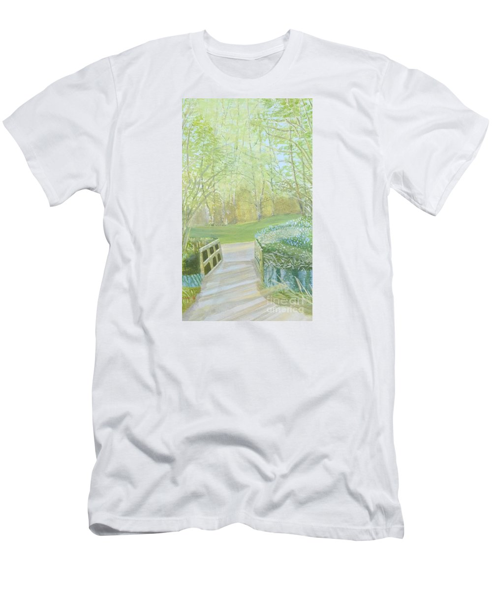 Dinton Pastures Men's T-Shirt (Athletic Fit) featuring the painting Over The Bridge by Joanne Perkins