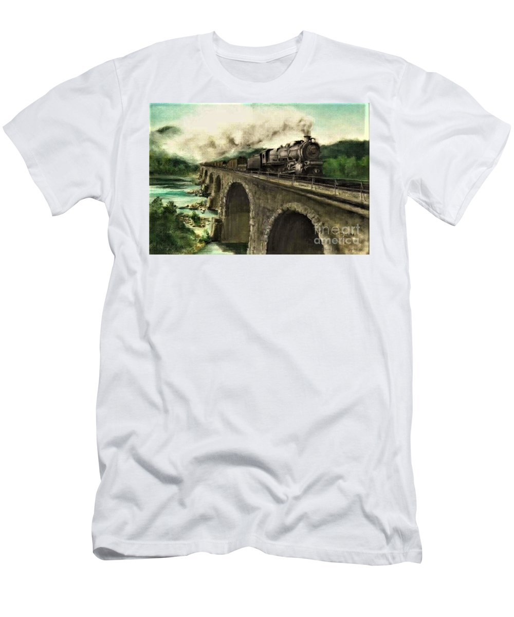 Steam Engine T-Shirt featuring the painting Over the River by David Mittner
