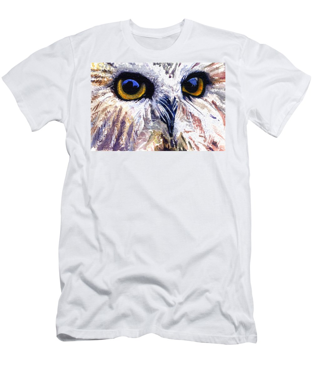 Eye Men's T-Shirt (Athletic Fit) featuring the painting Owl by John D Benson