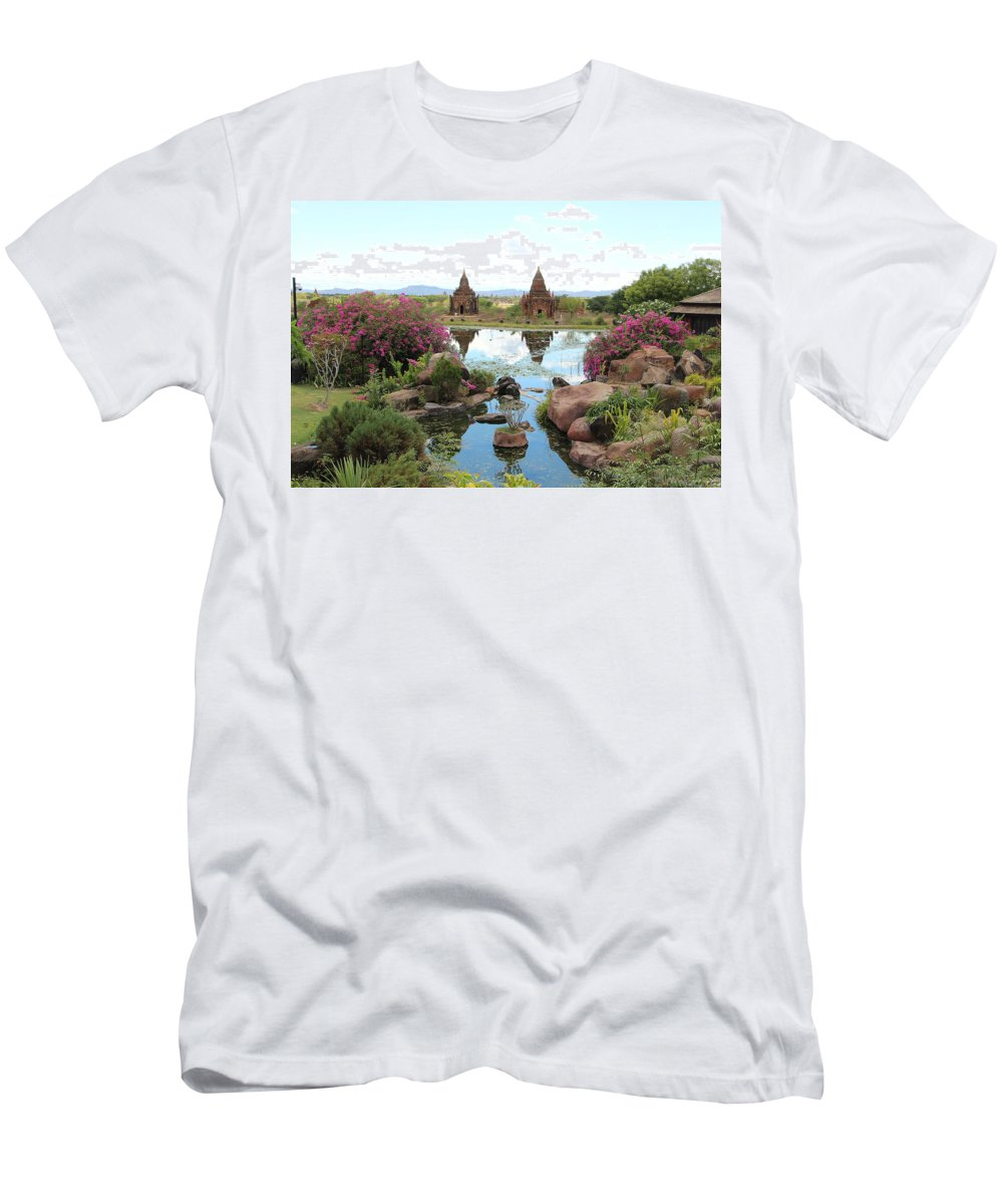 Pagoda By Valerie Trot Men's T-Shirt (Athletic Fit) featuring the photograph Temples by Valeria New