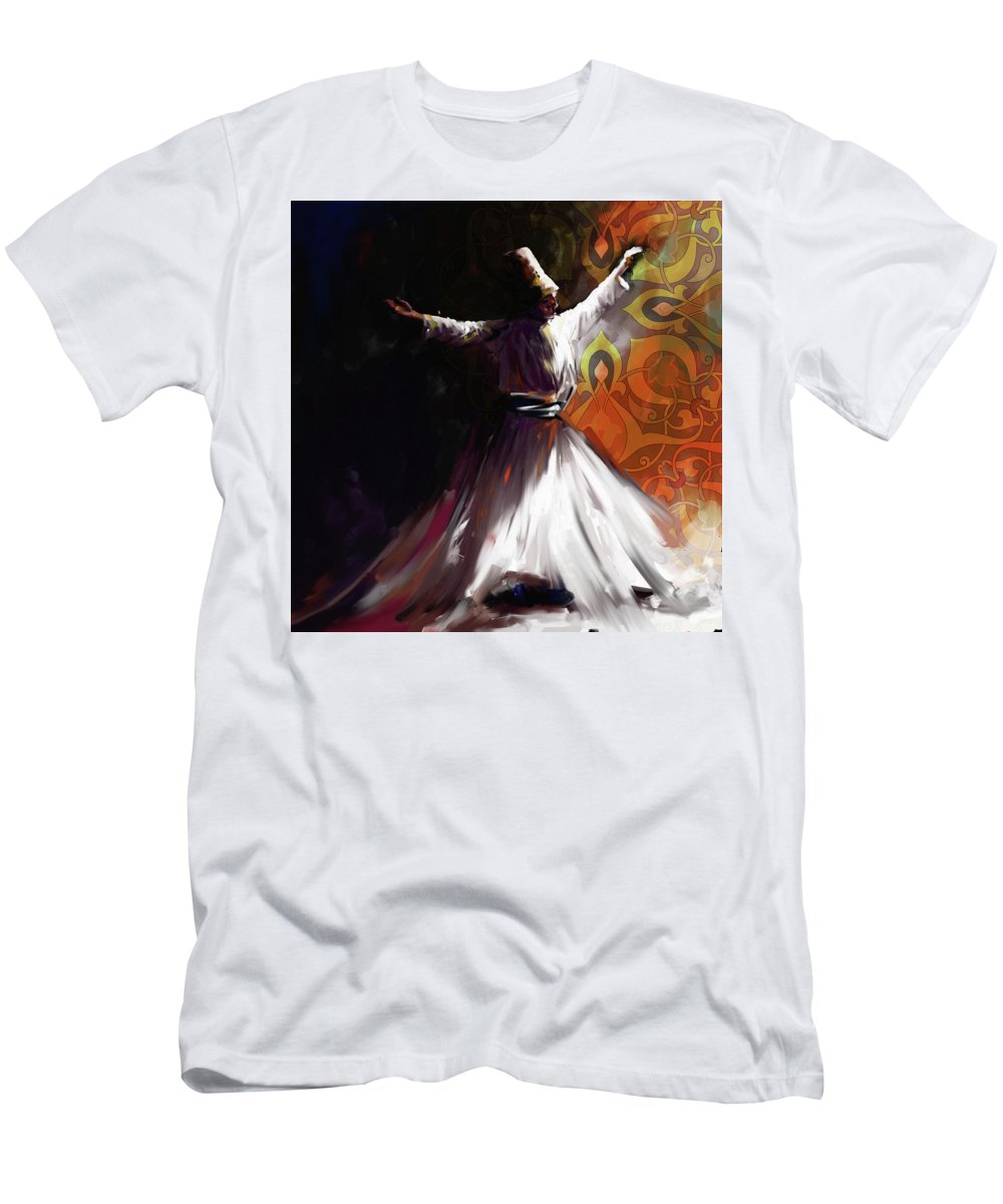 Tanoura Men's T-Shirt (Athletic Fit) featuring the painting Painting 716 3 Sufi Whirl 2 by Mawra Tahreem