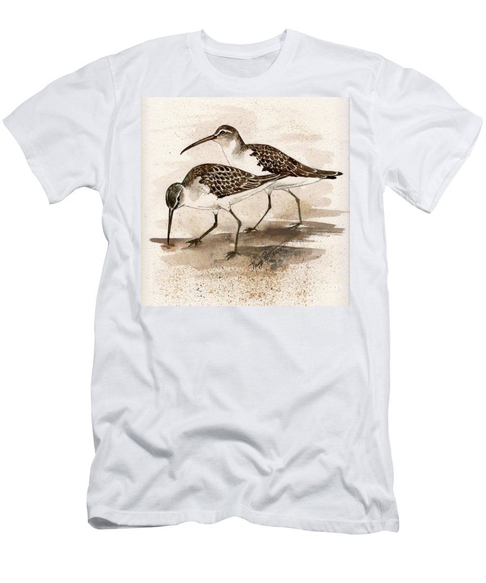 Sandpipers Men's T-Shirt (Athletic Fit) featuring the painting Pair Of Sandpipers by Nancy Patterson