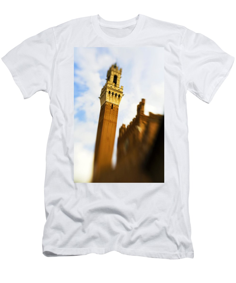 Palazzo Pubblico Men's T-Shirt (Athletic Fit) featuring the photograph Palazzo Pubblico Tower Siena Italy by Marilyn Hunt