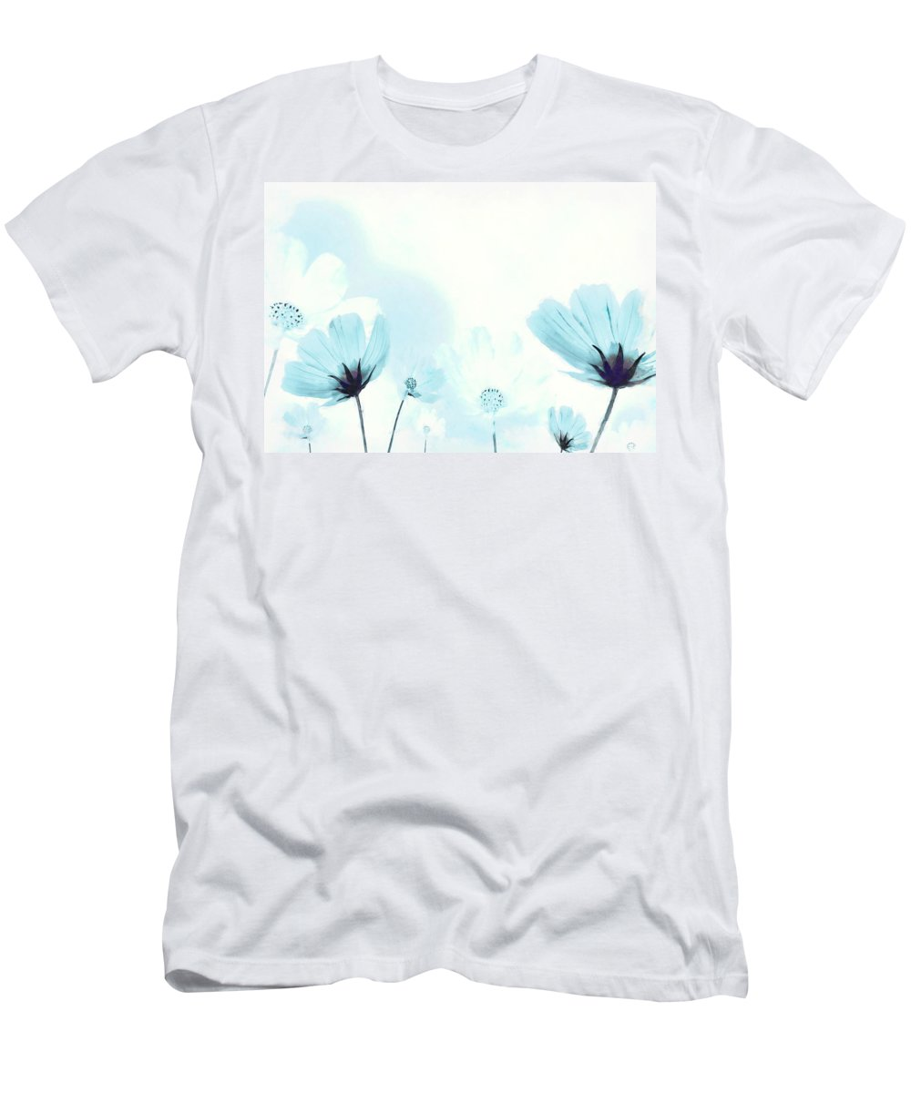 Cosmos Men's T-Shirt (Athletic Fit) featuring the digital art Cosmos Flowers by BONB Creative