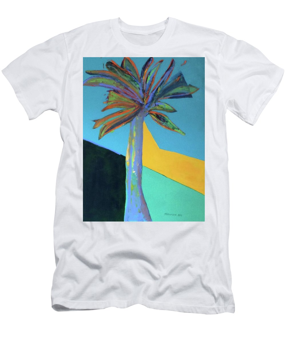 Palm Springs Men's T-Shirt (Athletic Fit) featuring the painting Palm In September, 2016. 24x18, Acrlyic On Canvas. by Felice Newman