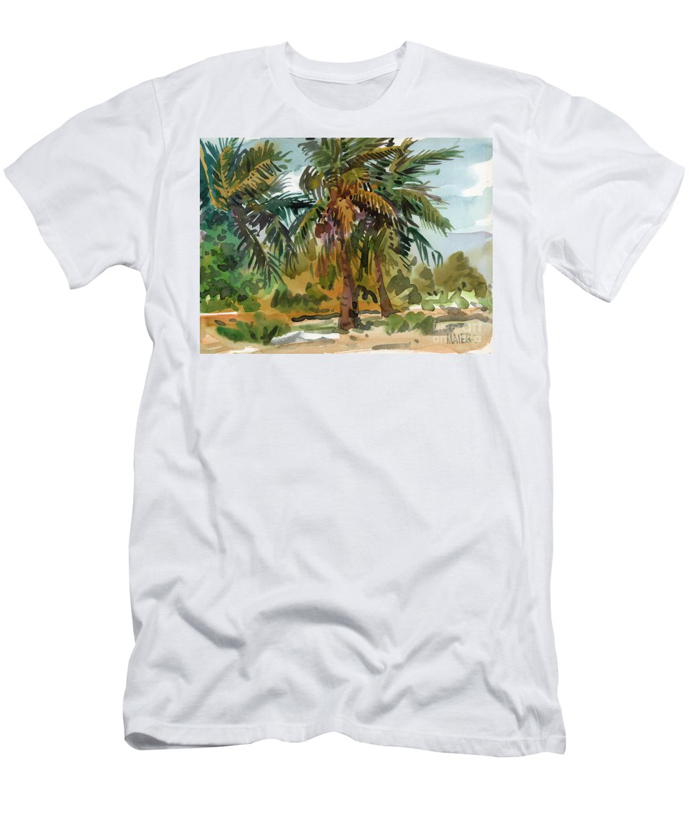 Palm Tree Men's T-Shirt (Athletic Fit) featuring the painting Palms In Key West by Donald Maier