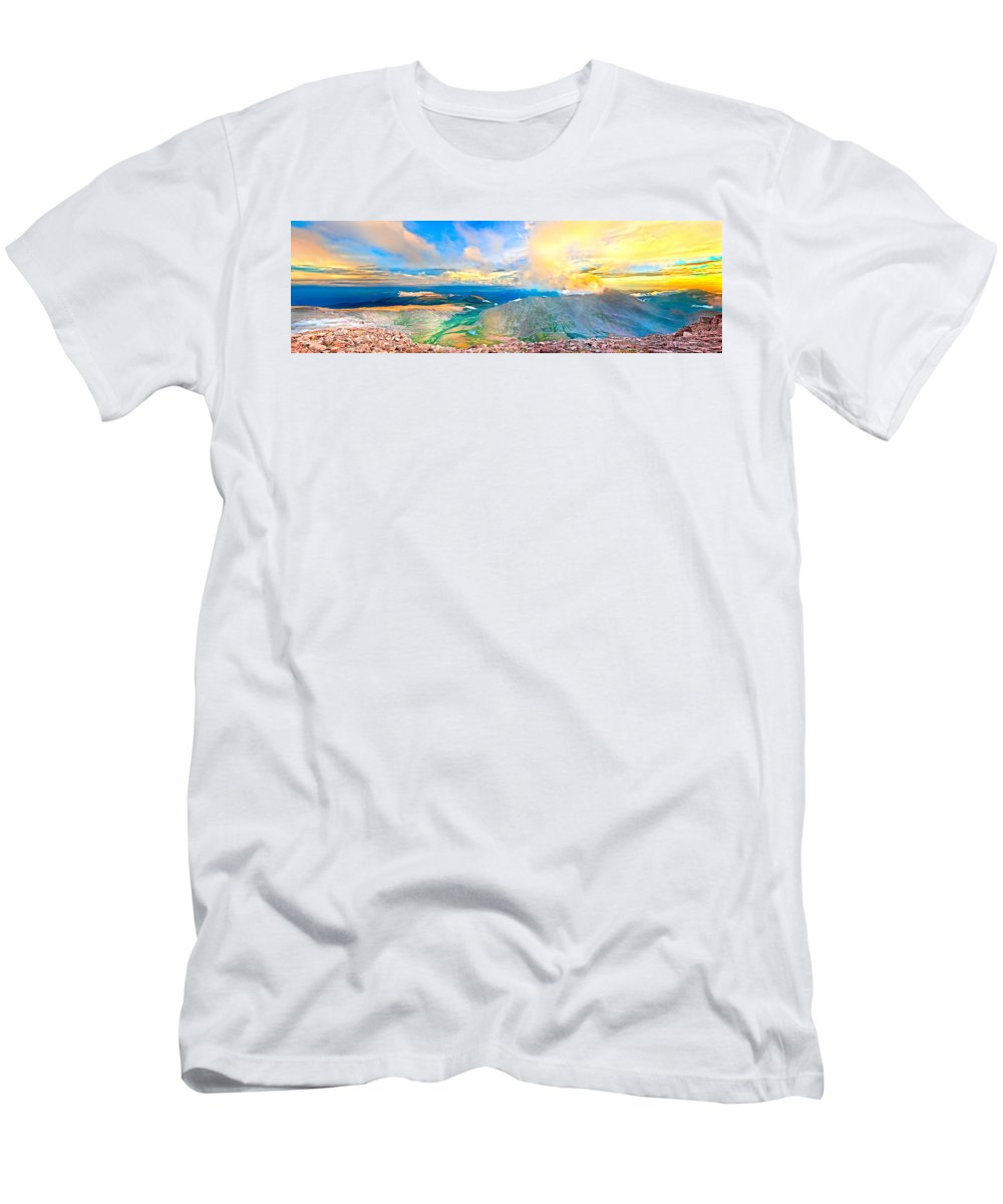 Sunset Men's T-Shirt (Athletic Fit) featuring the photograph Panoramic Sunset On Mount Evans by James O Thompson
