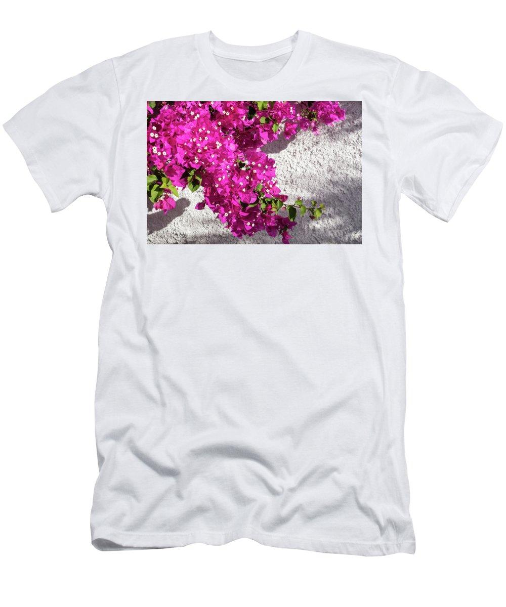 Georgia Mizuleva Men's T-Shirt (Athletic Fit) featuring the photograph Papery Pink Riot by Georgia Mizuleva