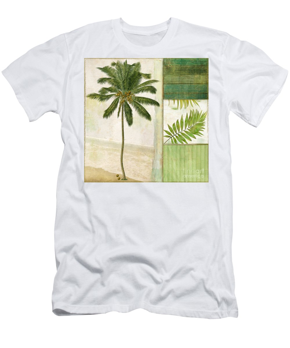 Palm Tree Men's T-Shirt (Athletic Fit) featuring the painting Paradise II Palm Tree by Mindy Sommers