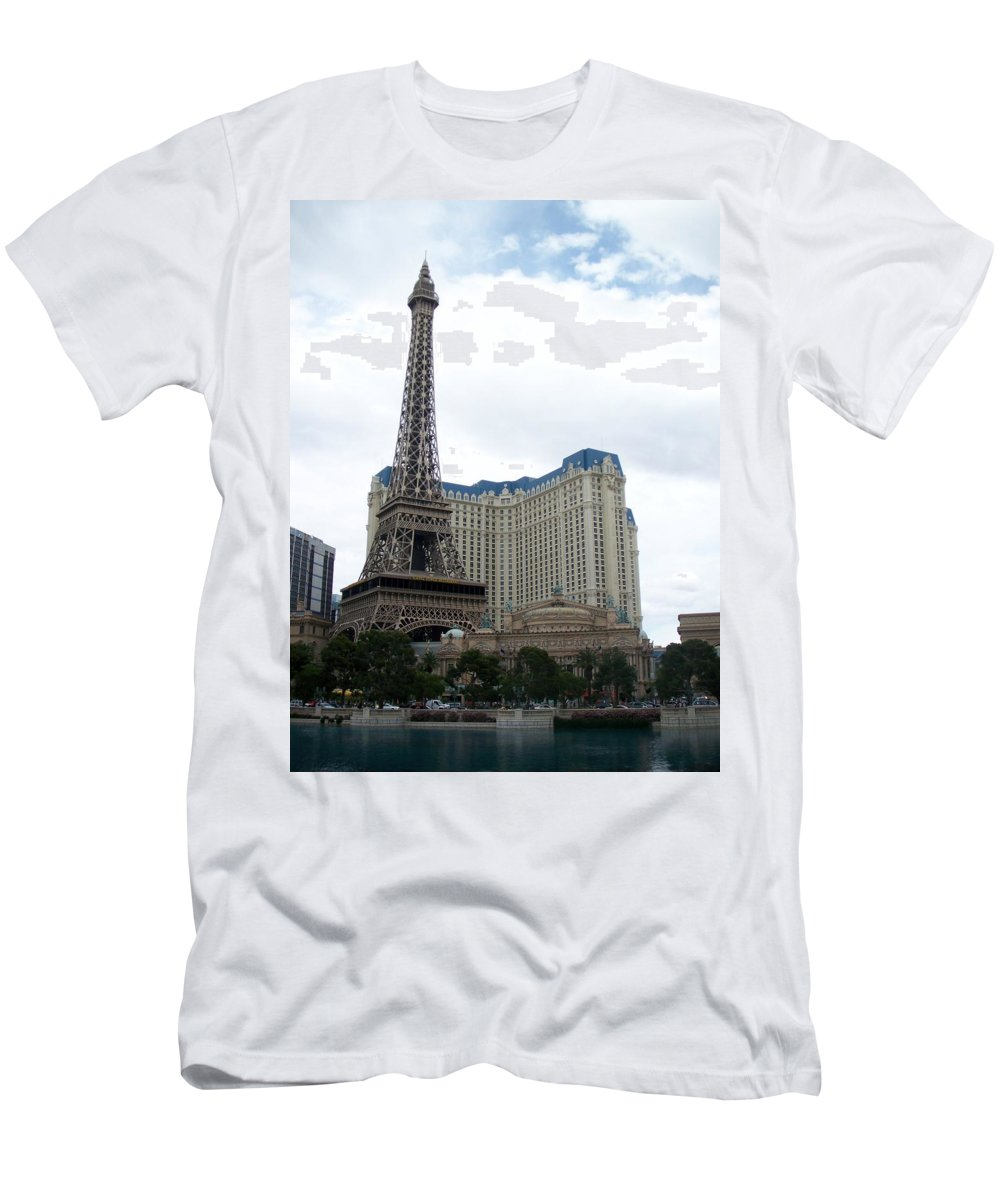 Bellagio Men's T-Shirt (Athletic Fit) featuring the photograph Paris Hotel by Anita Burgermeister