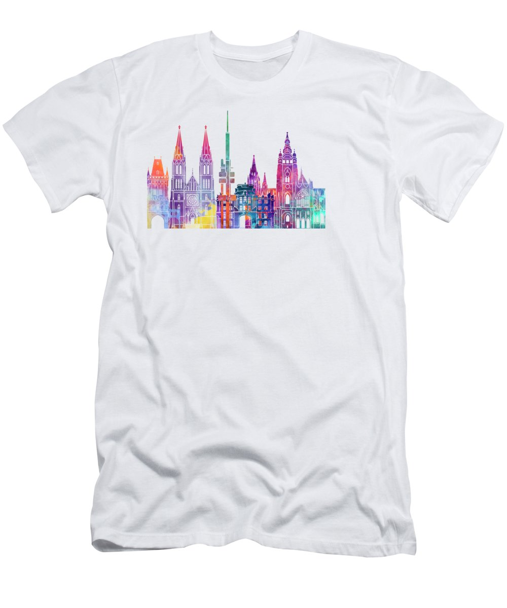 Europe Men's T-Shirt (Athletic Fit) featuring the painting Amsterdam Landmarks Watercolor Poster by Pablo Romero