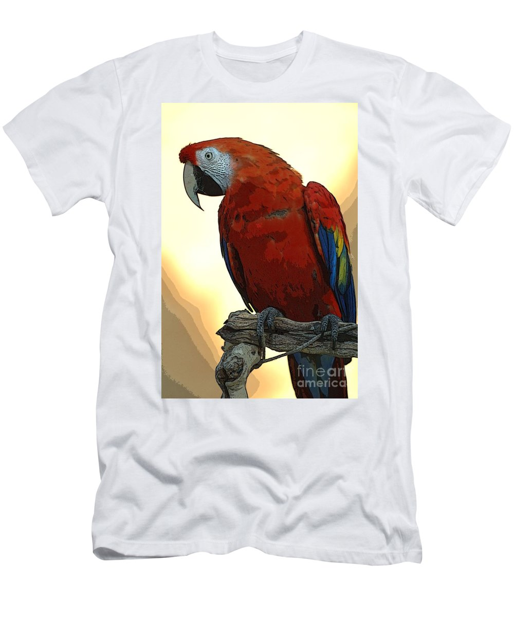 Animals Men's T-Shirt (Athletic Fit) featuring the photograph Parrot Watching by Norman Andrus