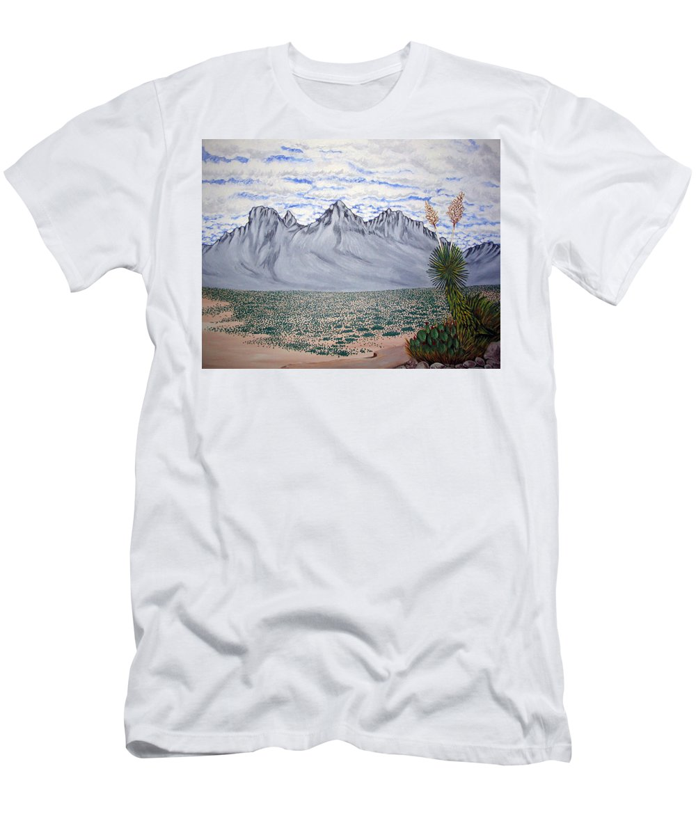 Desertscape Men's T-Shirt (Athletic Fit) featuring the painting Pass Of The North by Marco Morales