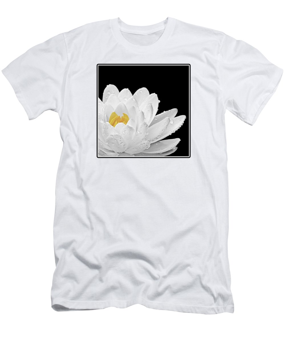 White Waterlily Men's T-Shirt (Athletic Fit) featuring the photograph Patch Of Gold by Gill Billington