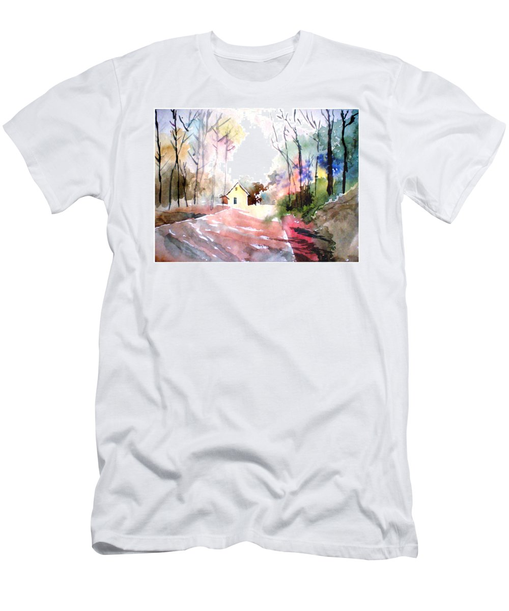 Nature Men's T-Shirt (Athletic Fit) featuring the painting Path In Colors by Anil Nene