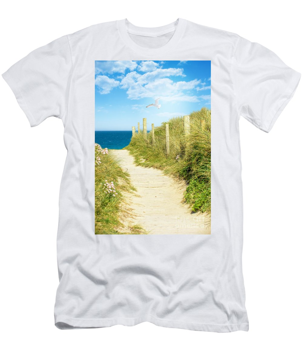 Path Men's T-Shirt (Athletic Fit) featuring the photograph Path To The Ocean by Amanda Elwell