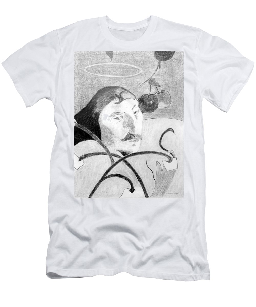 Pencil Men's T-Shirt (Athletic Fit) featuring the drawing Paul Gauguin by Jamie Frier