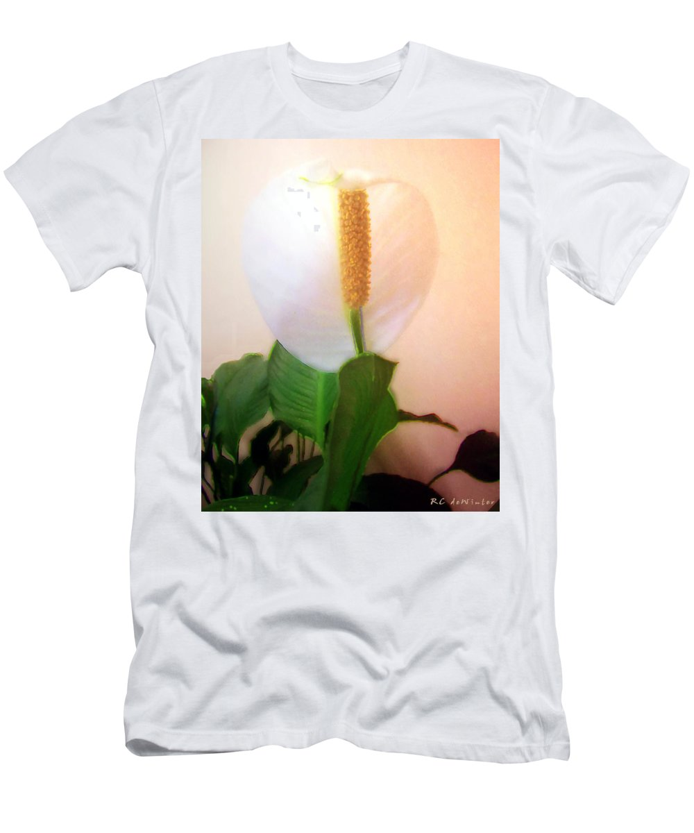 Flower Men's T-Shirt (Athletic Fit) featuring the painting Peace Lily Luminous by RC DeWinter